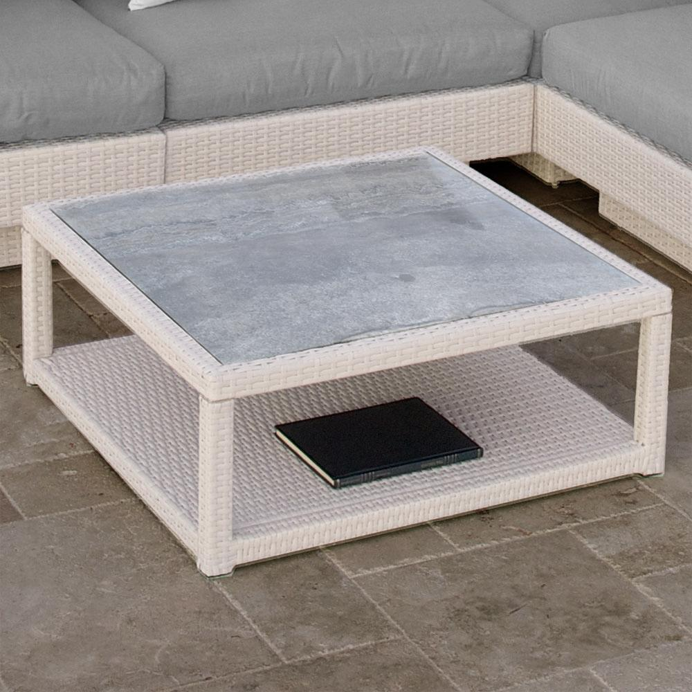 Portofino™ Comfort 40x40 Stone Top Conversation Table - Chalk - Outdoor Furniture by RST Brands