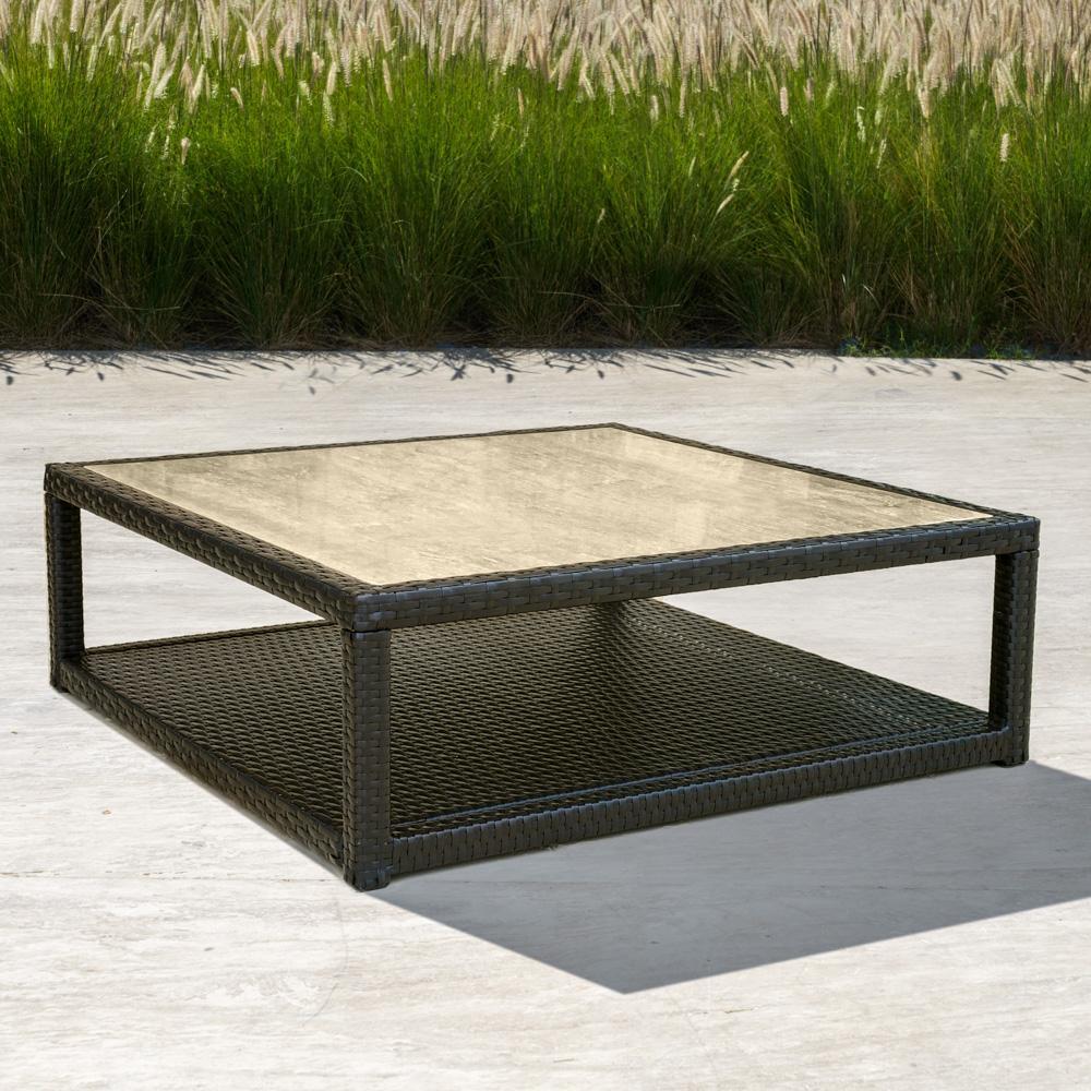 Portofino™ Comfort Stone Top Conversation Table - Espresso - Outdoor Furniture by RST Brands
