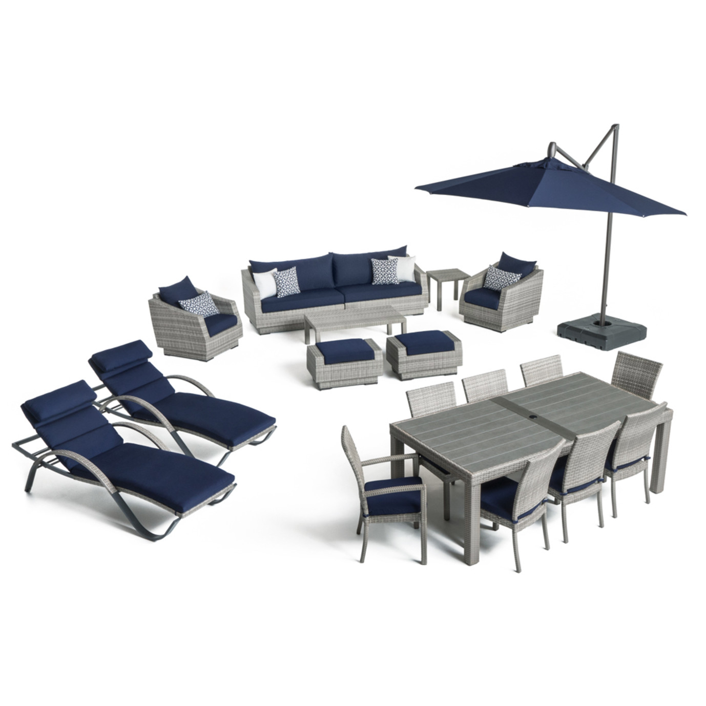 Cannes™ 20pc Outdoor Estate Set - Navy Blue