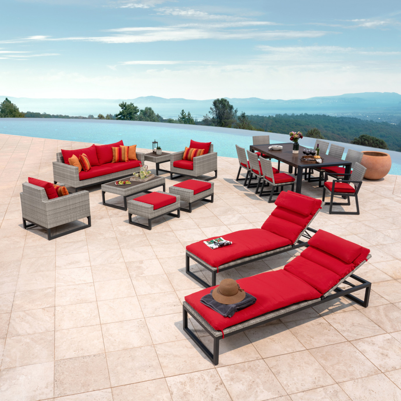 Milo™ Grey 18pc Estate Set - Sunset Red