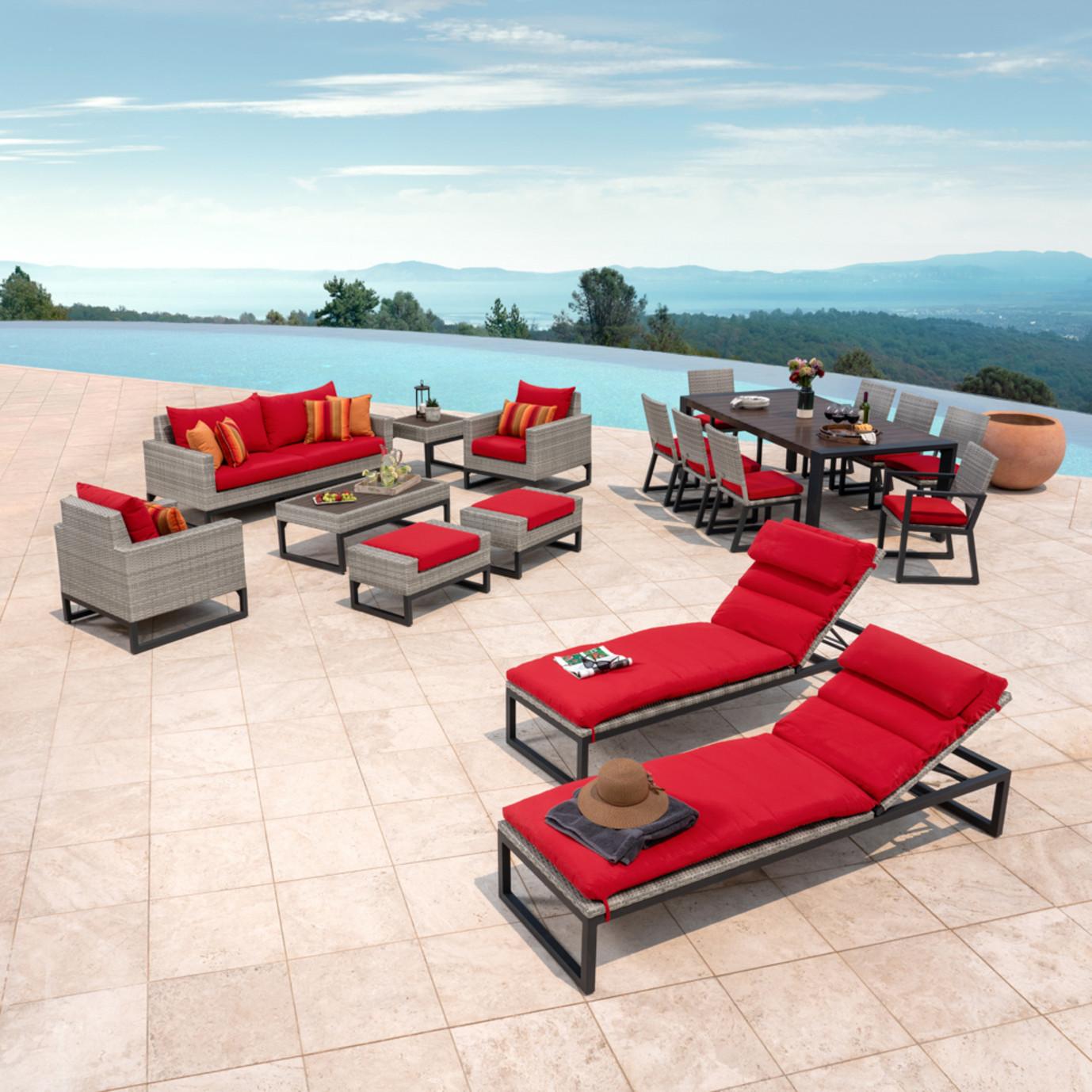 Milo™ Gray 18pc Estate Set - Sunset Red