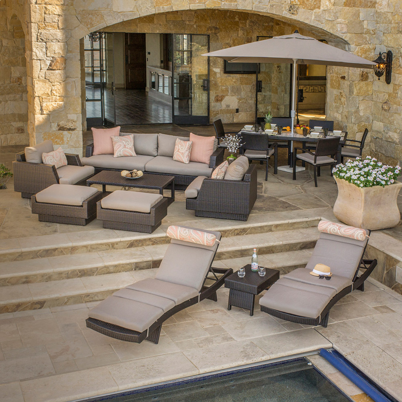 Portofino™ Comfort 18pc Estate Dining Set - Espresso Taupe