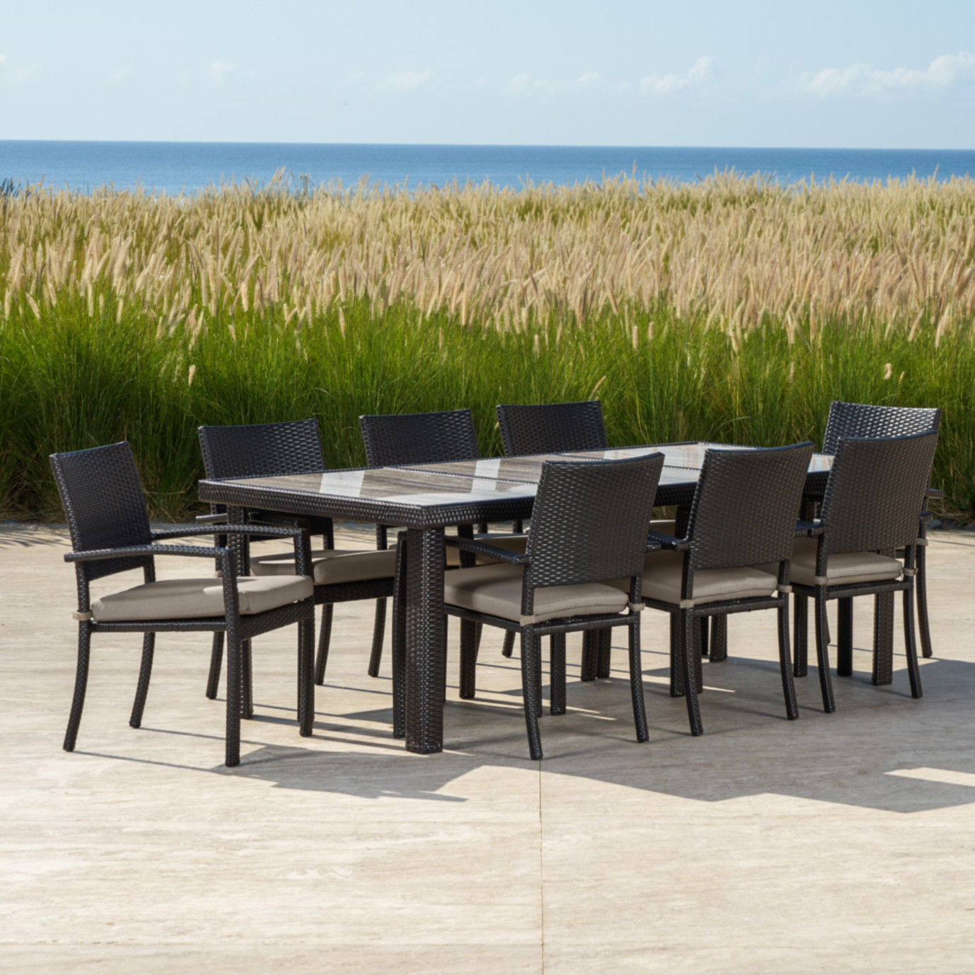 Portofino Comfort 19pc Estate Dining Collection Taupe