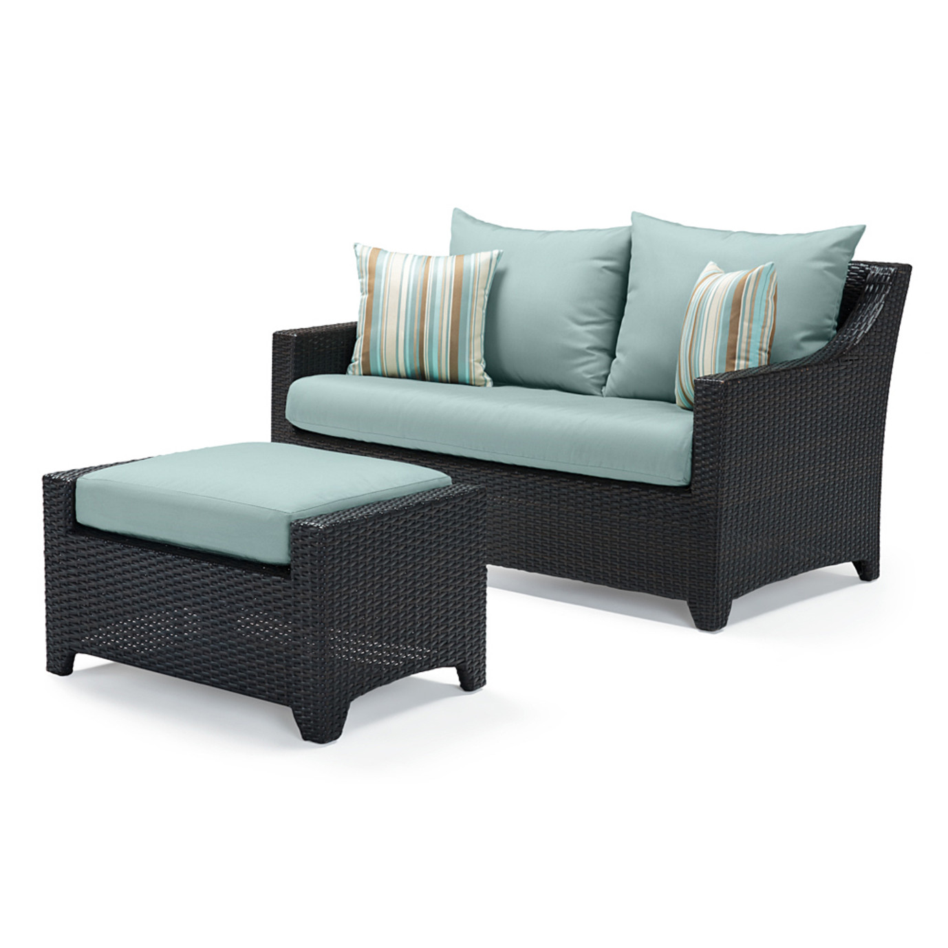 Deco™ Loveseat and Ottoman - Bliss Blue