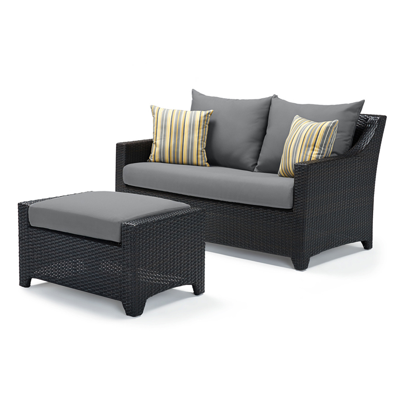 Deco™ Loveseat and Ottoman - Charcoal Gray