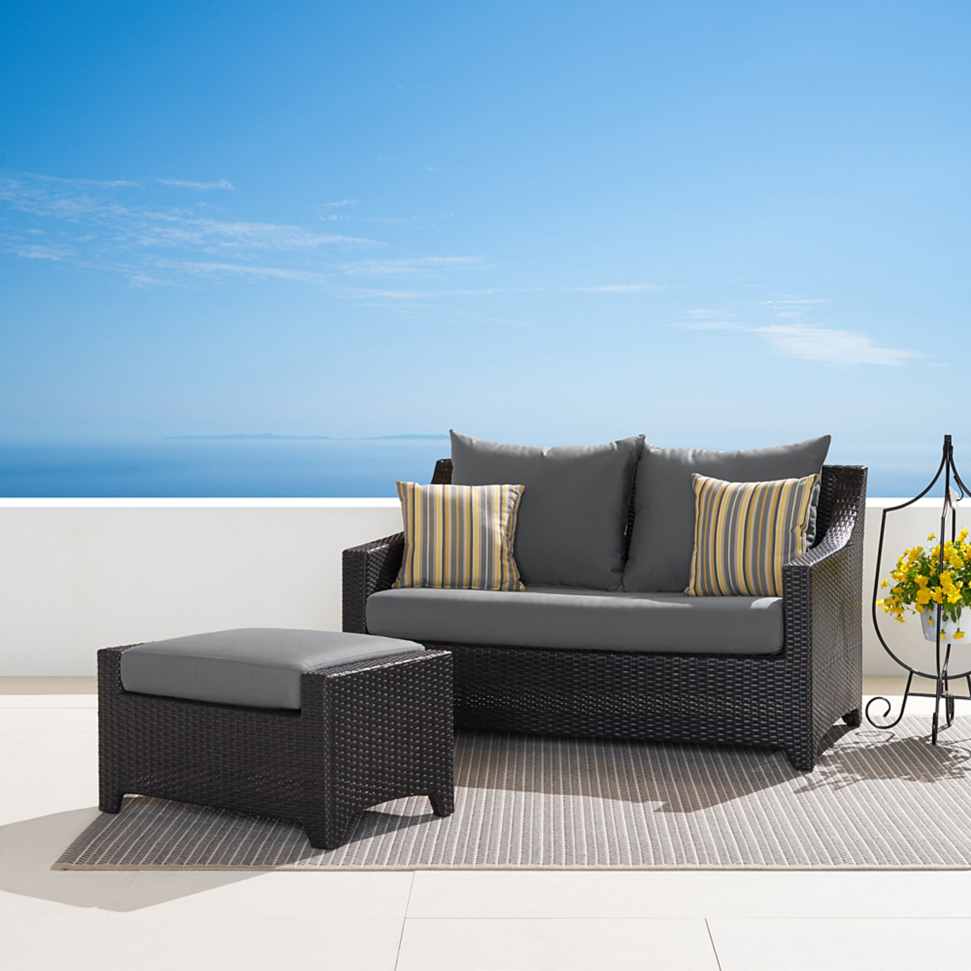 Deco™ Loveseat and Ottoman - Charcoal Grey