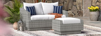 Cannes™ Loveseat and Ottoman - Charcoal Gray