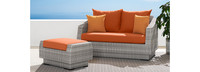 Cannes™ Loveseat & Ottoman - Centered Ink