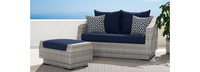 Cannes™ Loveseat & Ottoman - Cast Coral