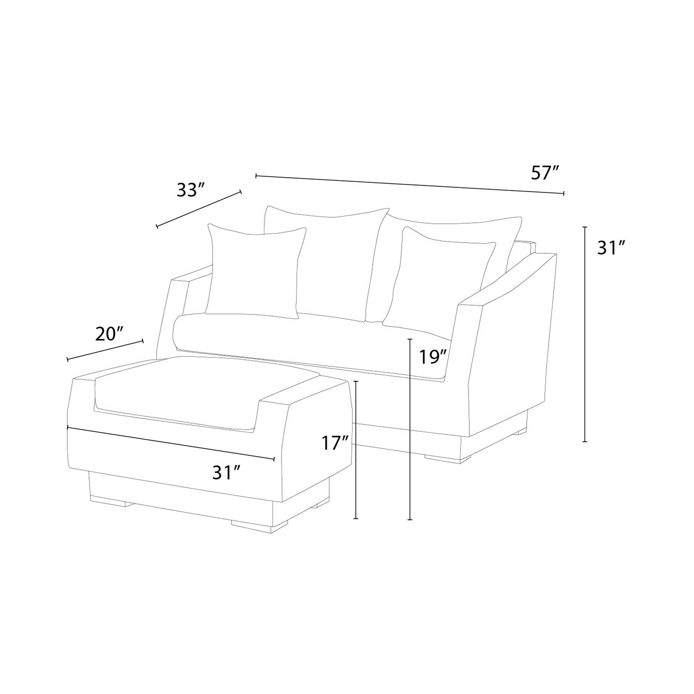 Cannes™ Loveseat and Ottoman - Ginkgo Green