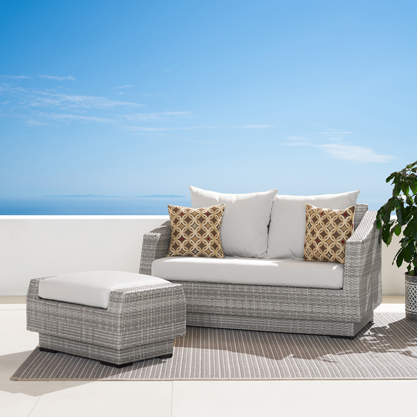 Cannes™ Loveseat and Ottoman - Moroccan Cream
