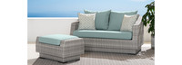 Cannes™ Loveseat and Ottoman - Navy Blue