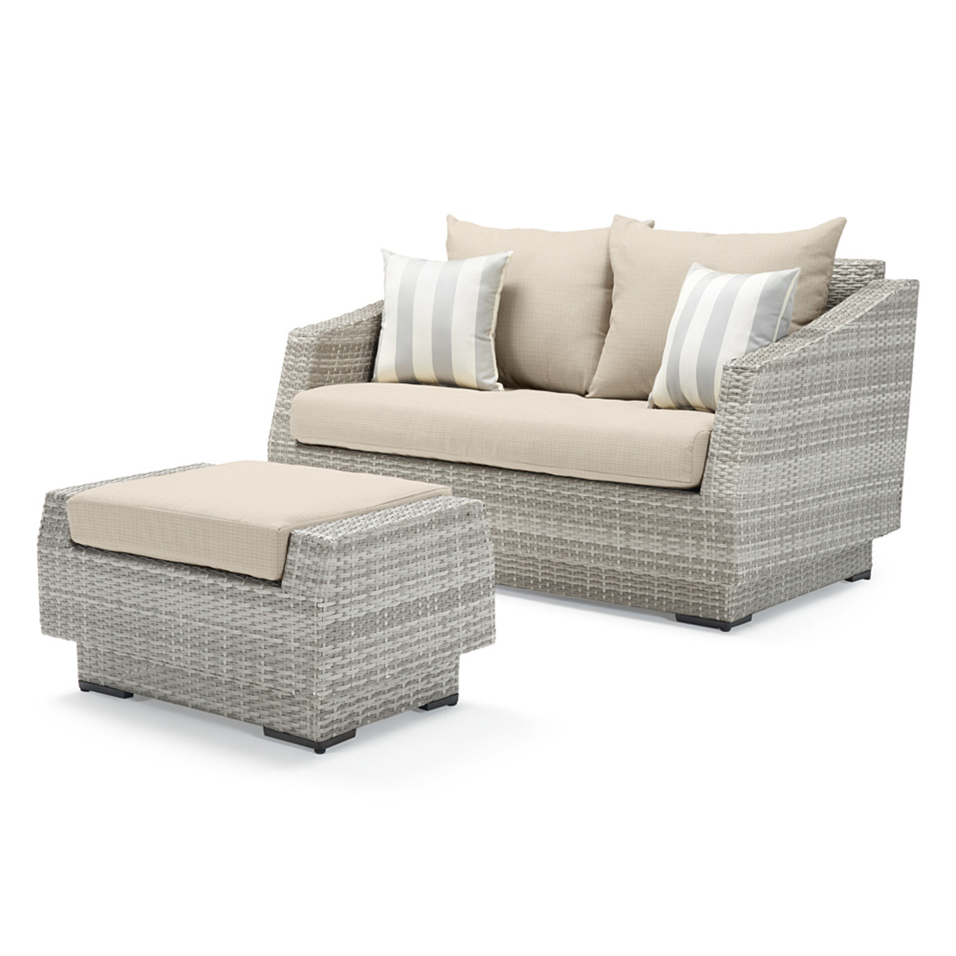 Cannes™ Loveseat and Ottoman - Slate Gray