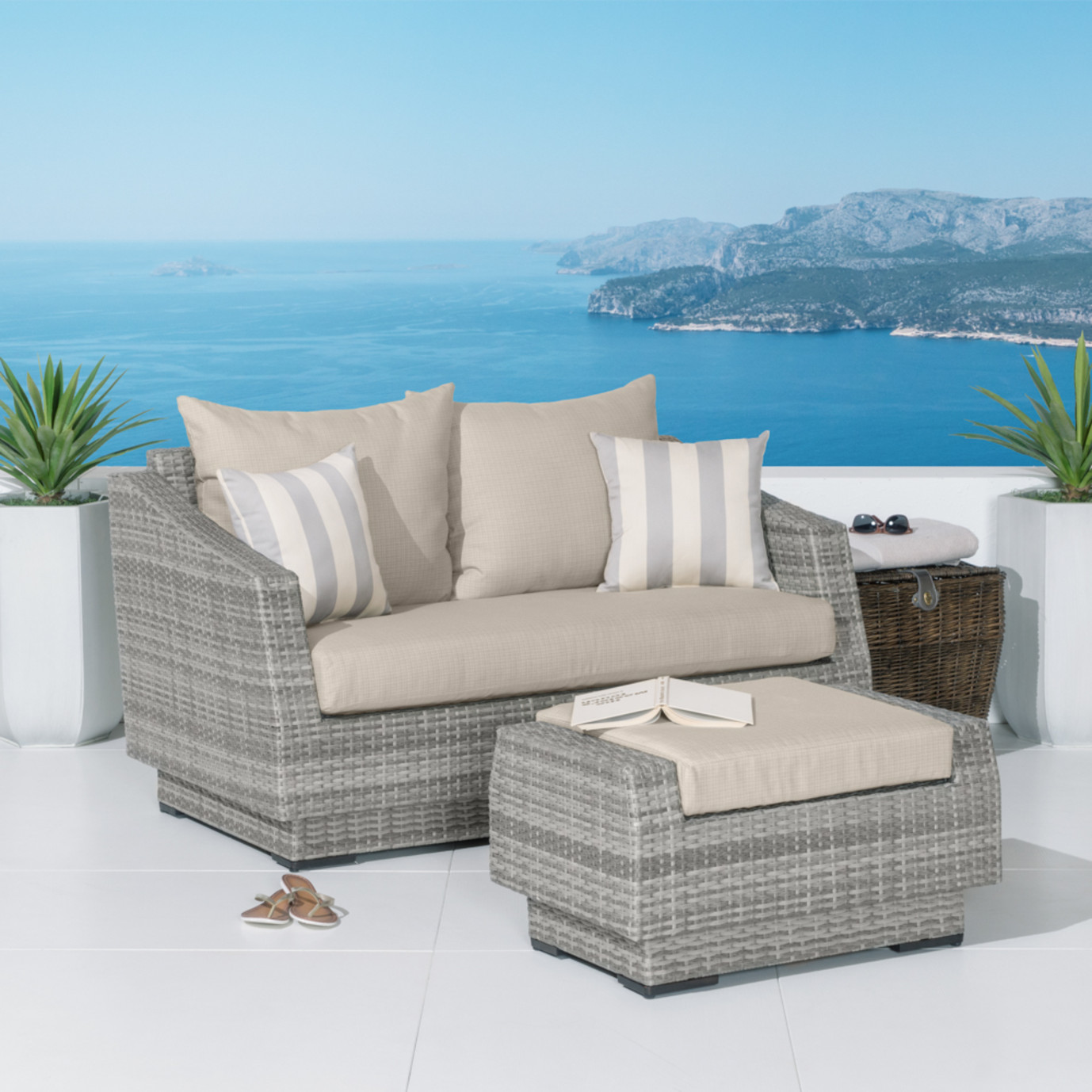 Cannes™ Loveseat and Ottoman - Slate Grey