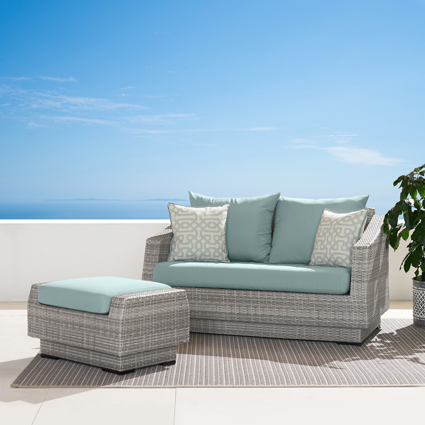Cannes™ Loveseat & Ottoman - Spa Blue