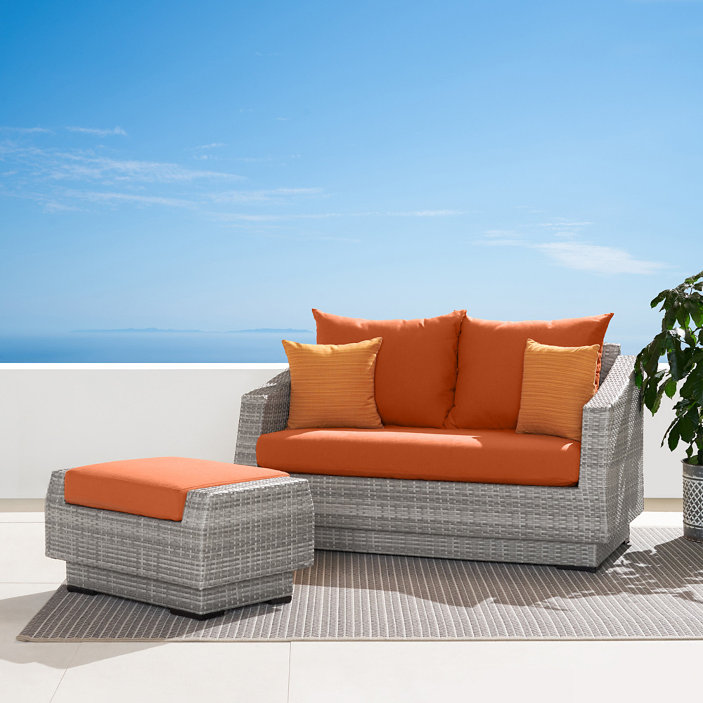 Cannes™ Loveseat and Ottoman - Tikka Orange