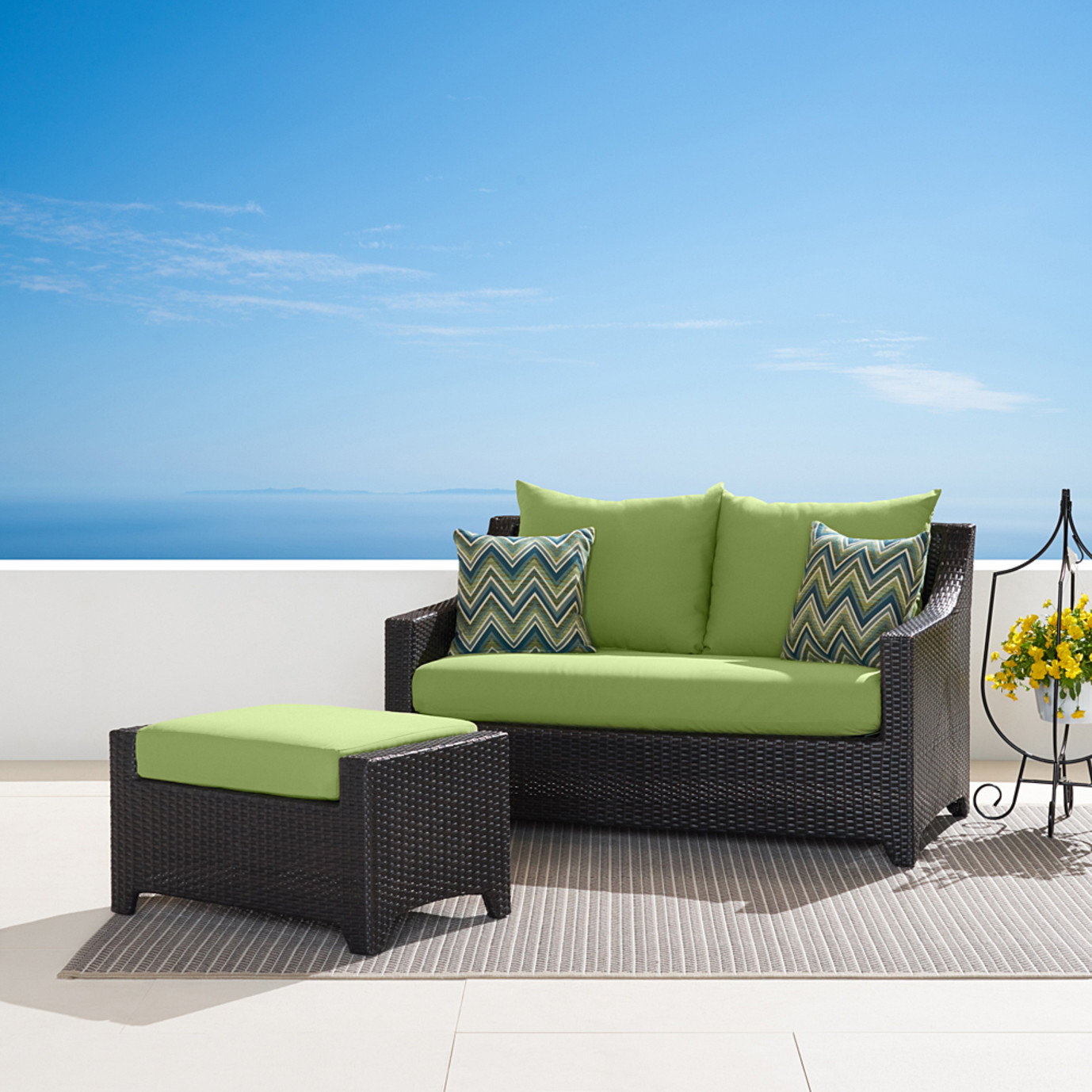 Deco™ Loveseat and Ottoman - Ginkgo Green