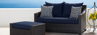 Deco™ Loveseat and Ottoman - Navy Blue
