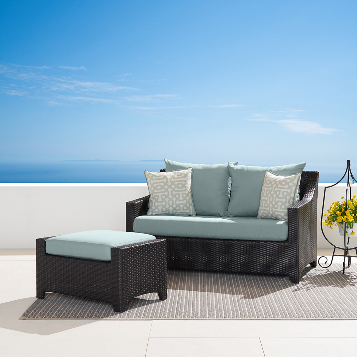 Deco™ Loveseat & Ottoman - Spa Blue
