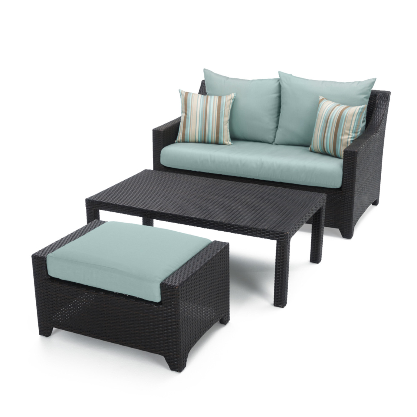 Deco Loveseat And Ottoman With Coffee Table Bliss Blue Rst Brands