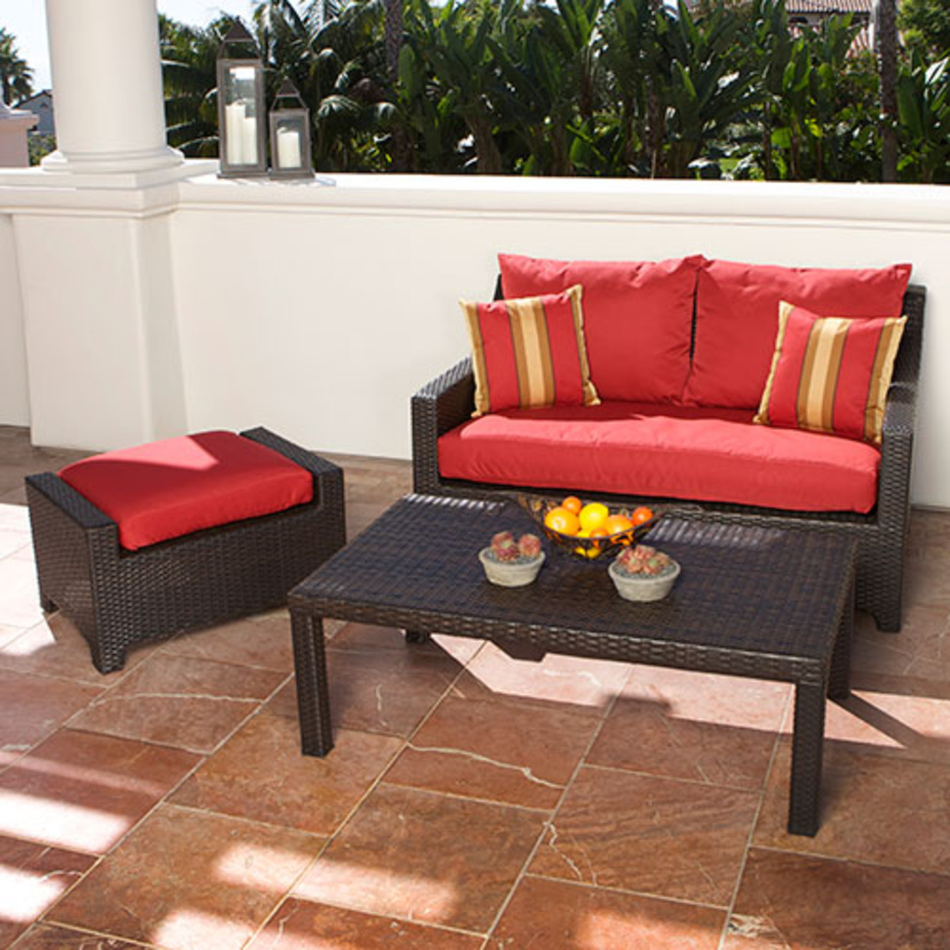 Deco Loveseat And Ottoman With Coffee Table Cantina Red Rst Brands