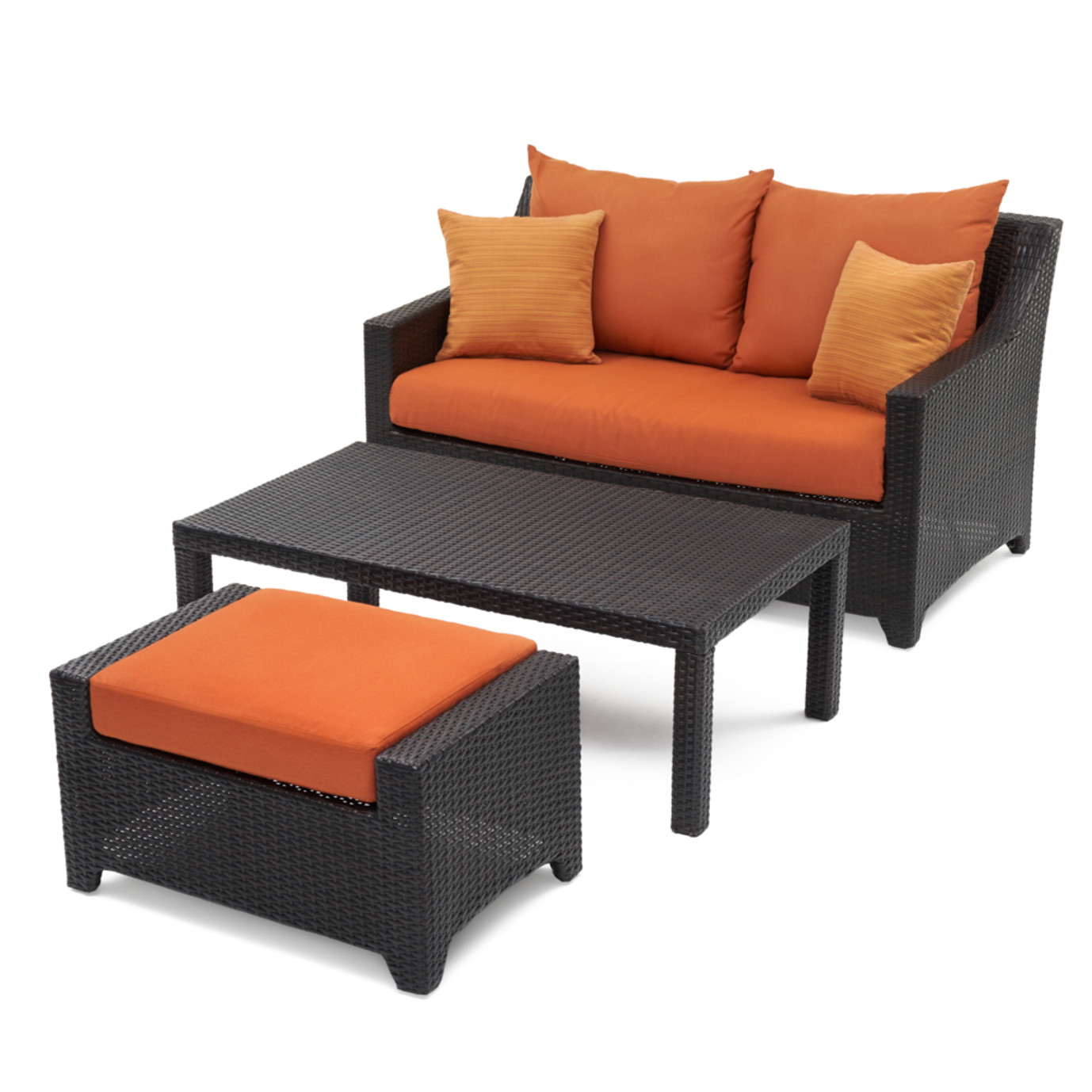 Deco Loveseat And Ottoman With Coffee Table Tikka Orange Rst Brands