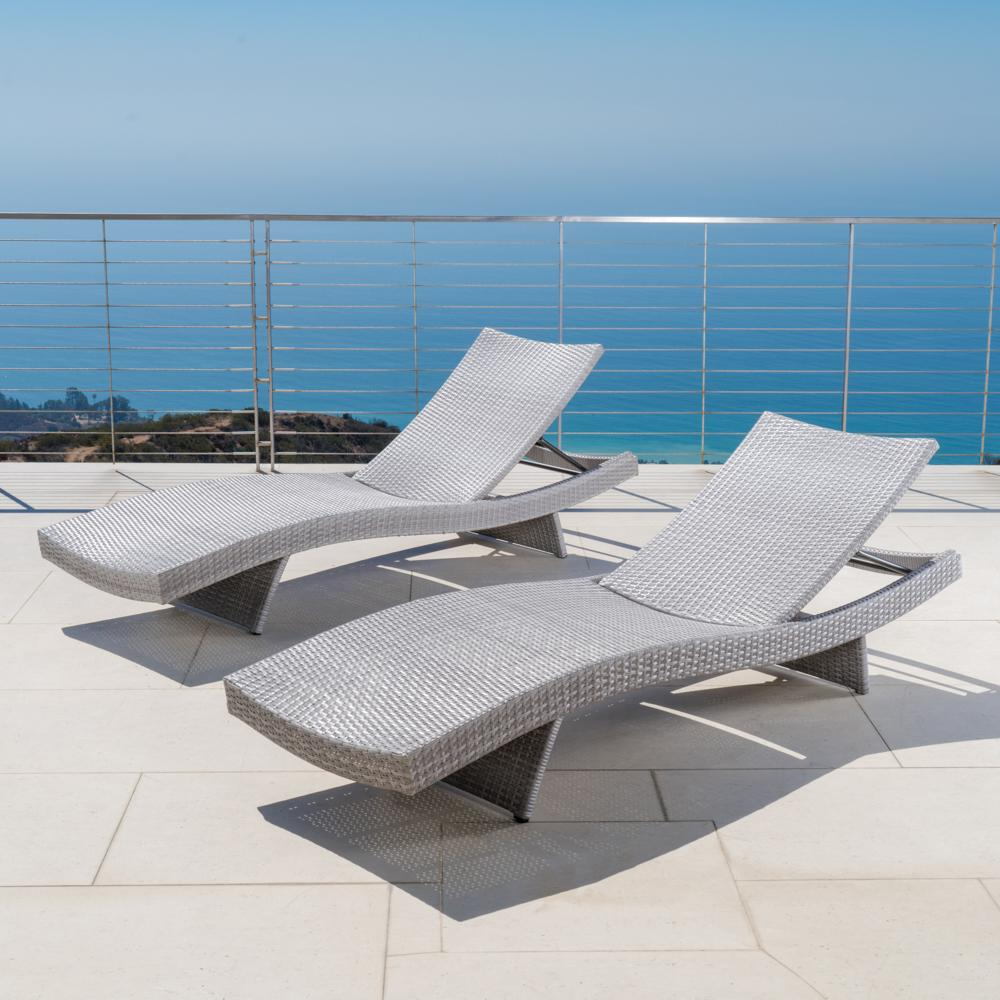 ... Portofino™ Comfort 2pk Chaise Lounge Chairs   Grey ...