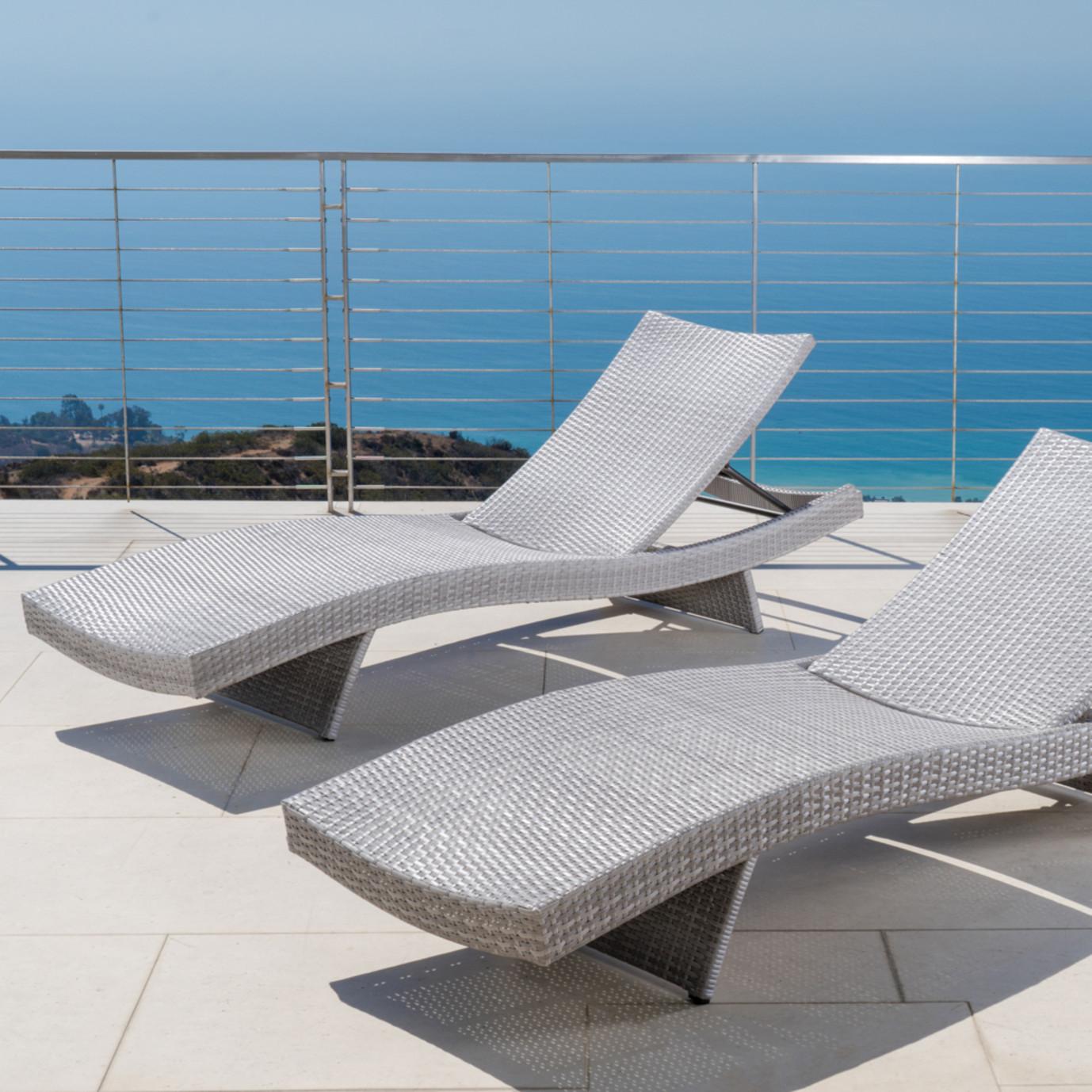 Portofino Comfort 2pk Chaise Lounge Chairs Grey