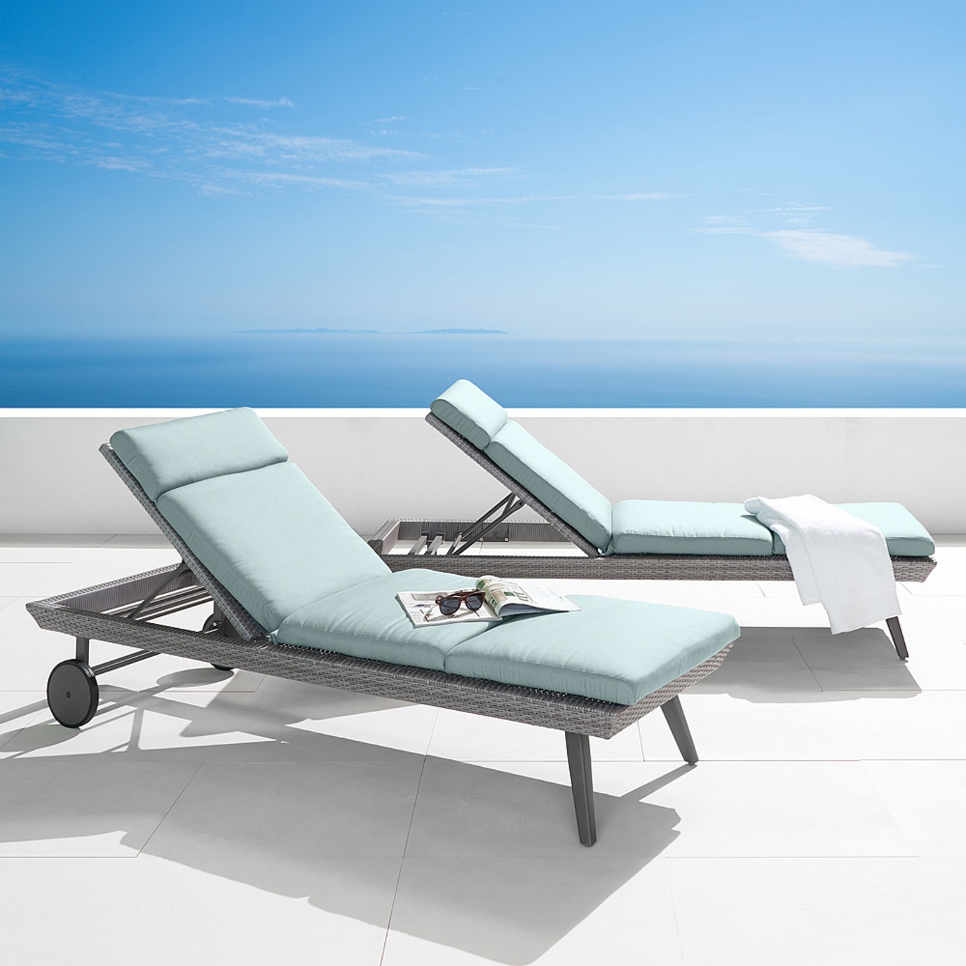 Portofino® Casual 2 Piece Lounger and Mattress - Spa Blue