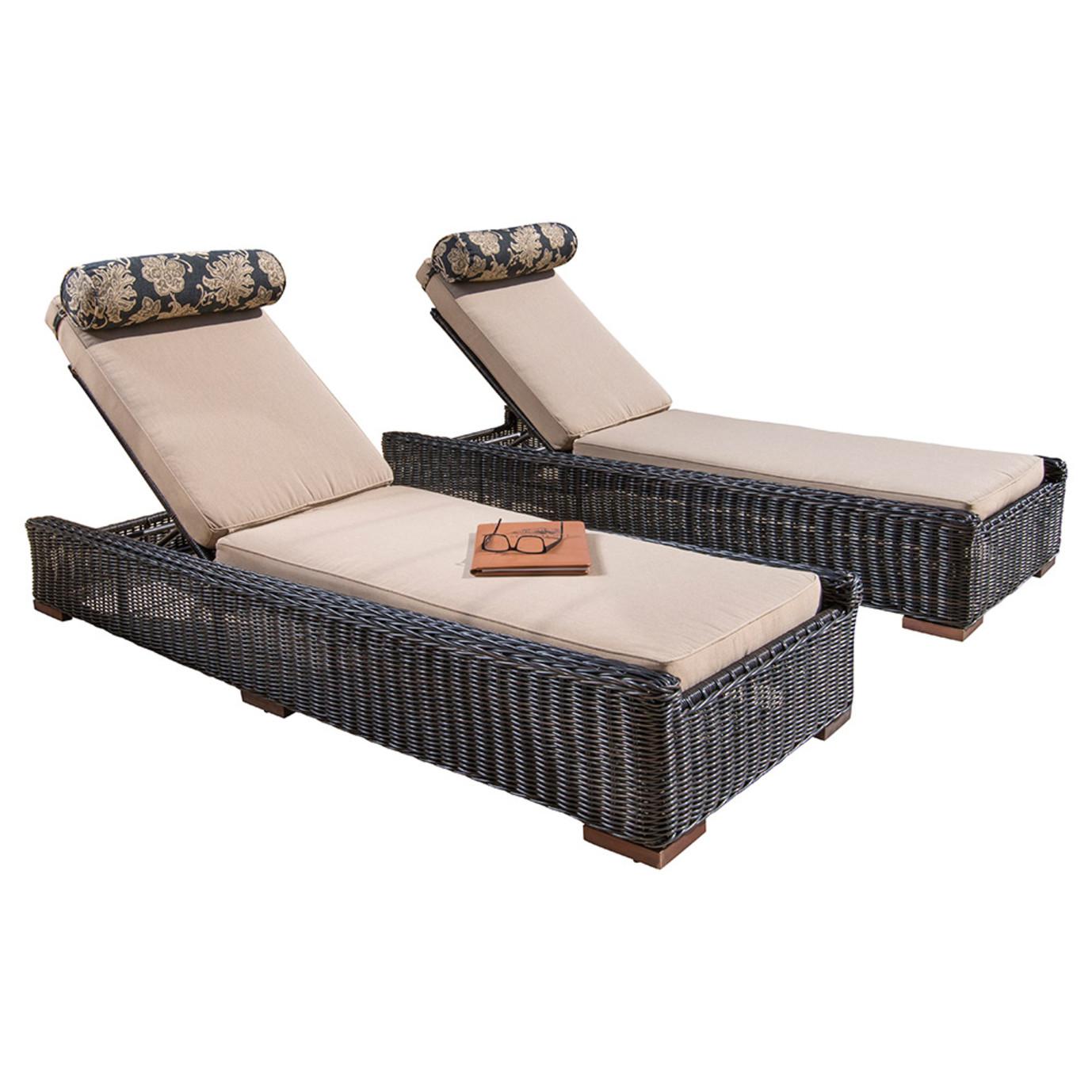 Resort™ 2pc Lounge & Cushion Set - Espresso/Heather Beige