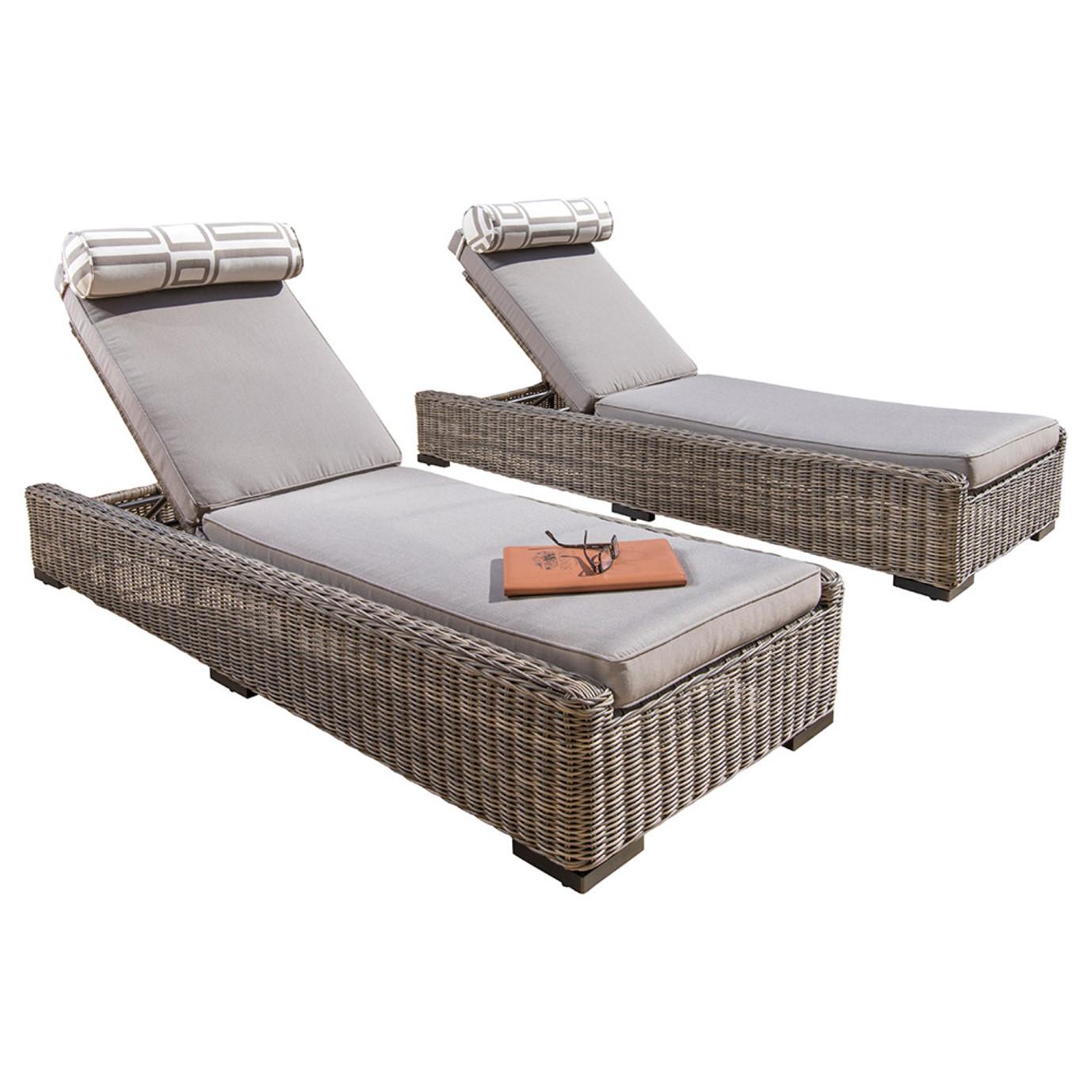 Resort™ 2pc Lounge & Cushion Set - Weathered Grey/Frank Stone