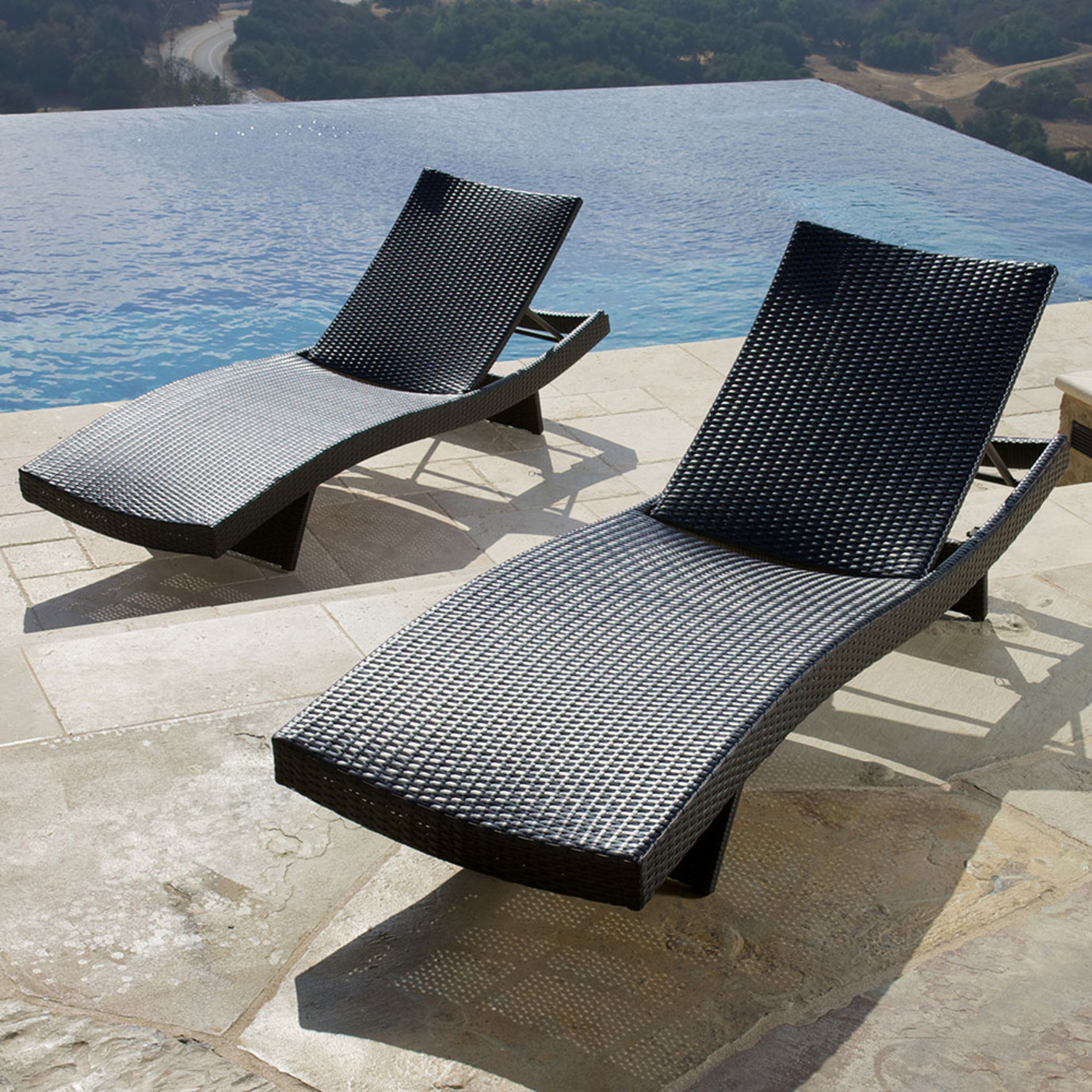 Portofino® Comfort 2 Loungers & Table - Espresso