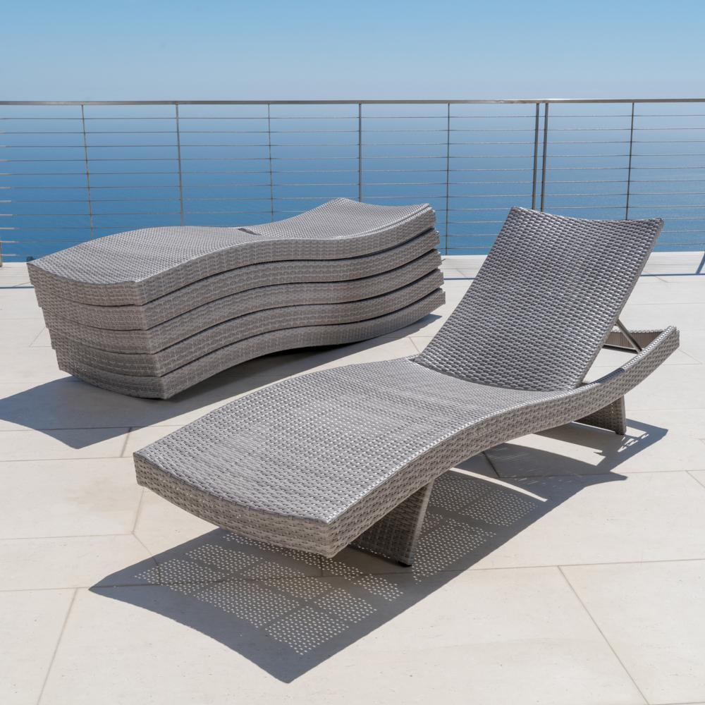 ... Portofino™ Comfort 6pk Chaise Lounge Chairs   Grey ...