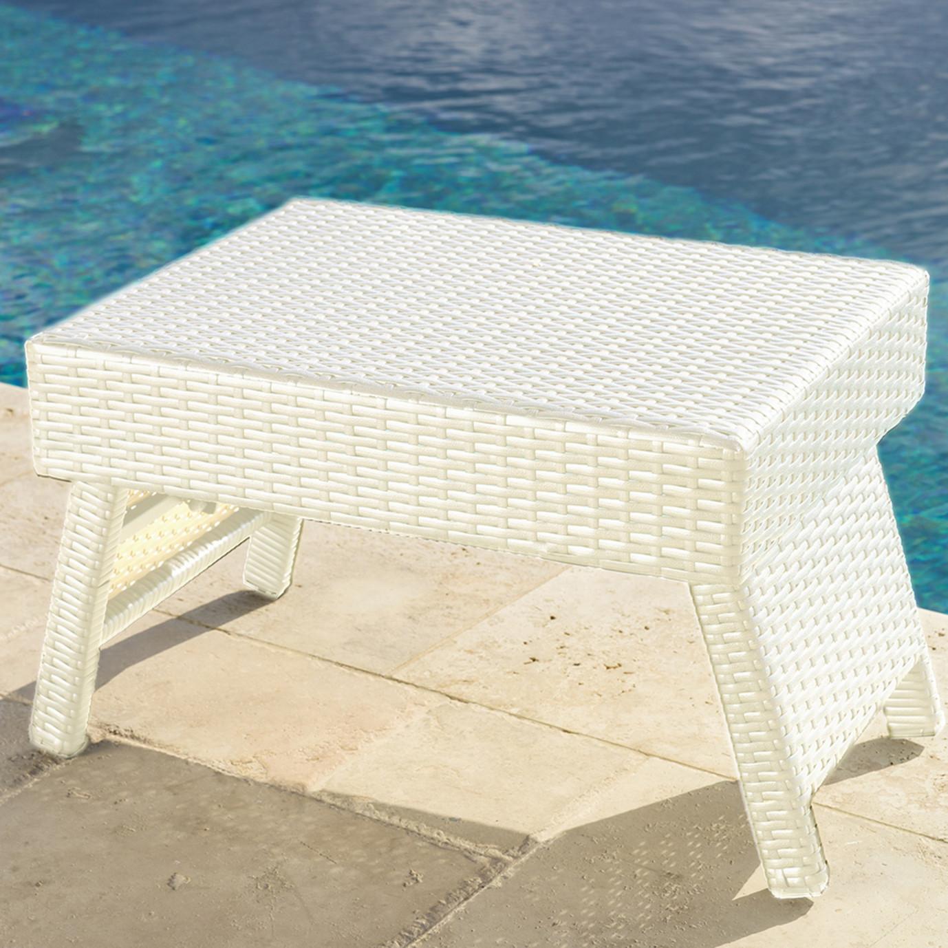 Portofino™ Comfort Woven Folding Side Table - Chalk