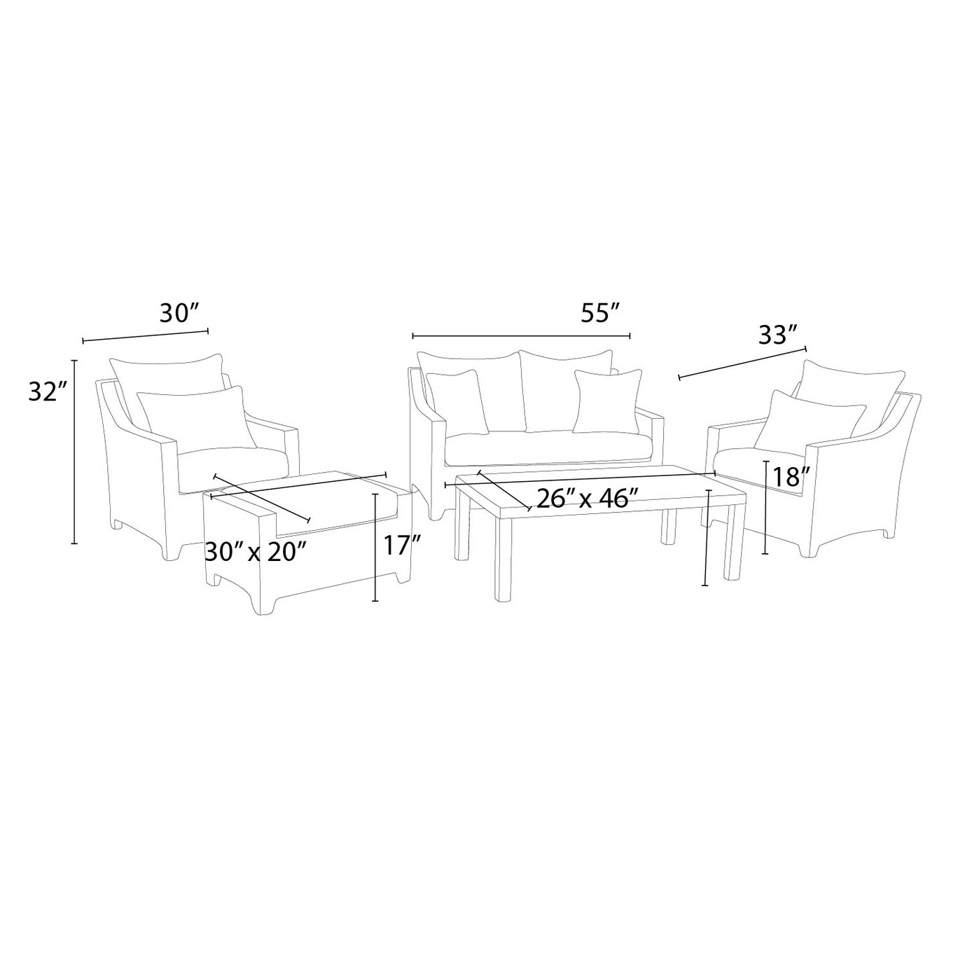 Deco™ 5pc Love & Club Seating Set - Sunflower Yellow