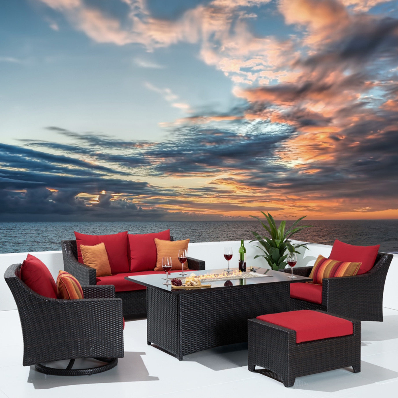 Deco™ 5pc Love & Motion Club Fire Set - Sunset Red