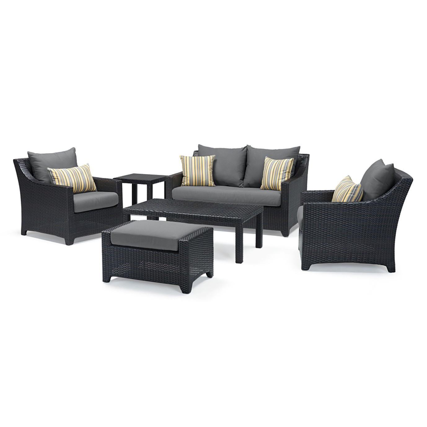 Deco™ 6 Piece Love and Club Seating Set - Charcoal Gray