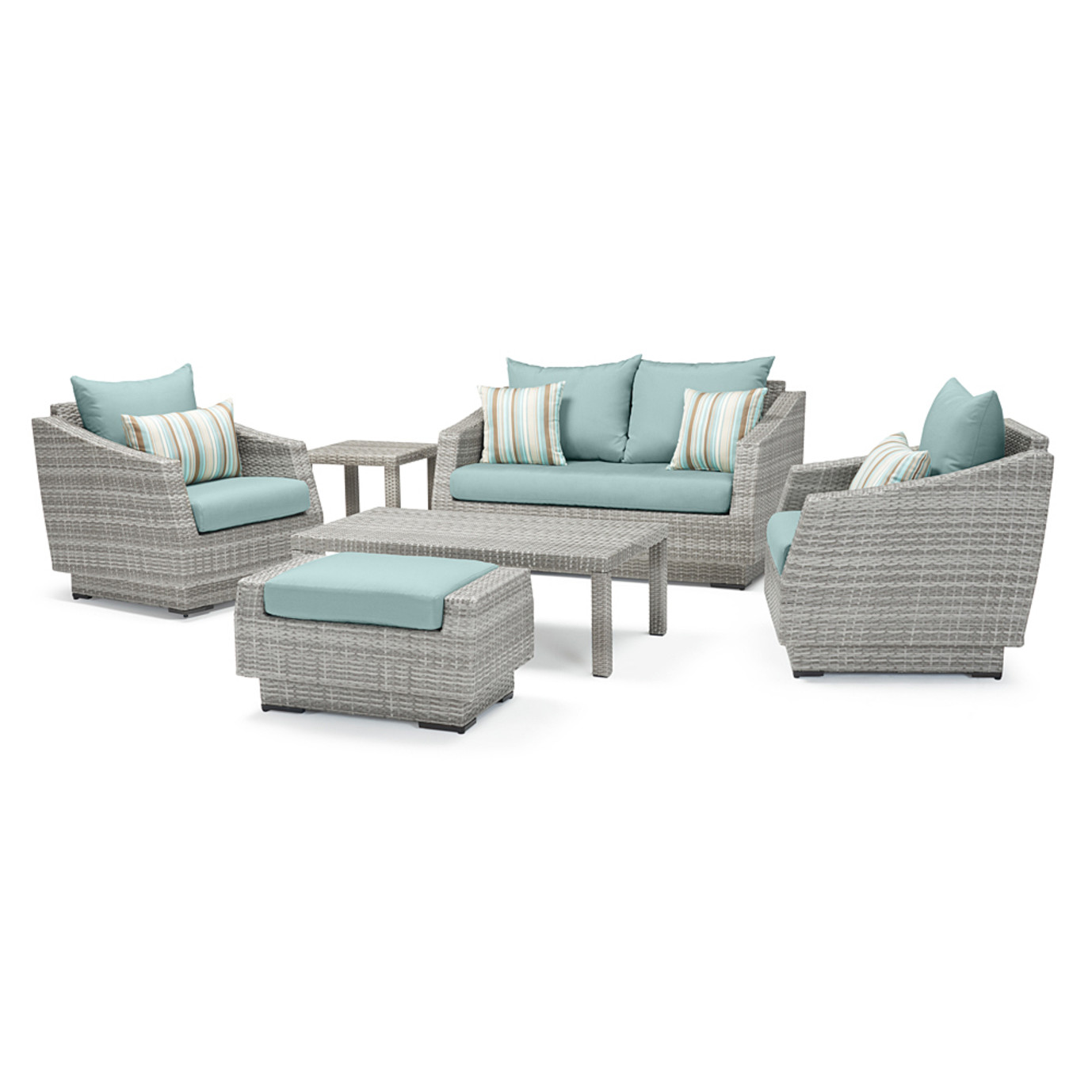 Cannes™ 6 Piece Love and Club Seating Set - Bliss Blue