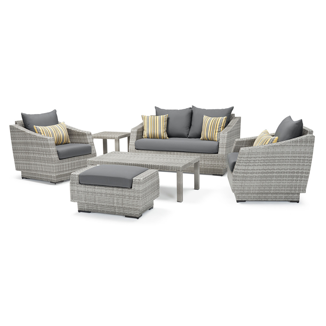 Cannes™ 6 Piece Love and Club Seating Set - Charcoal Gray