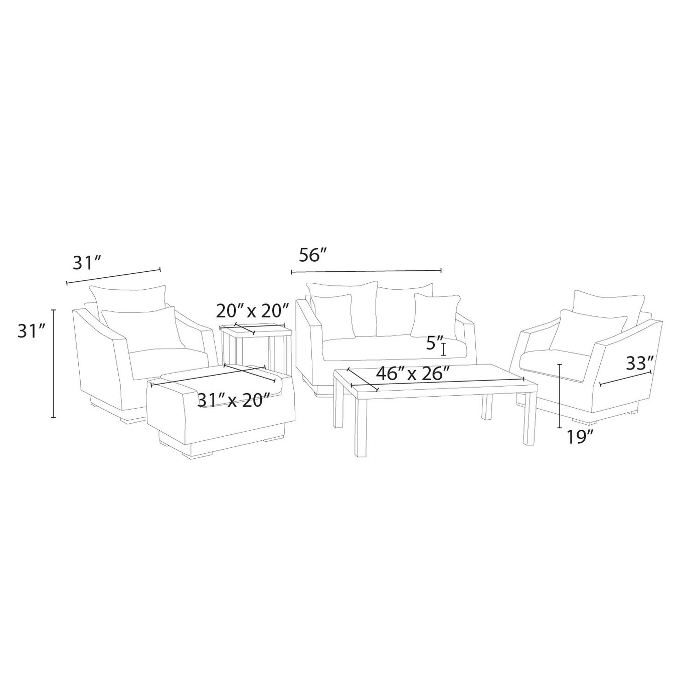 Cannes™ 6pc Love and Club Seating Set - Charcoal Gray