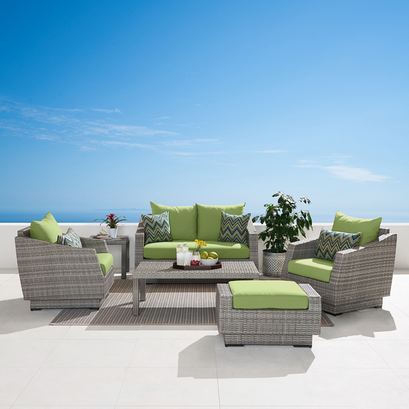 Cannes™ 6pc Love and Club Seating Set - Ginkgo Green