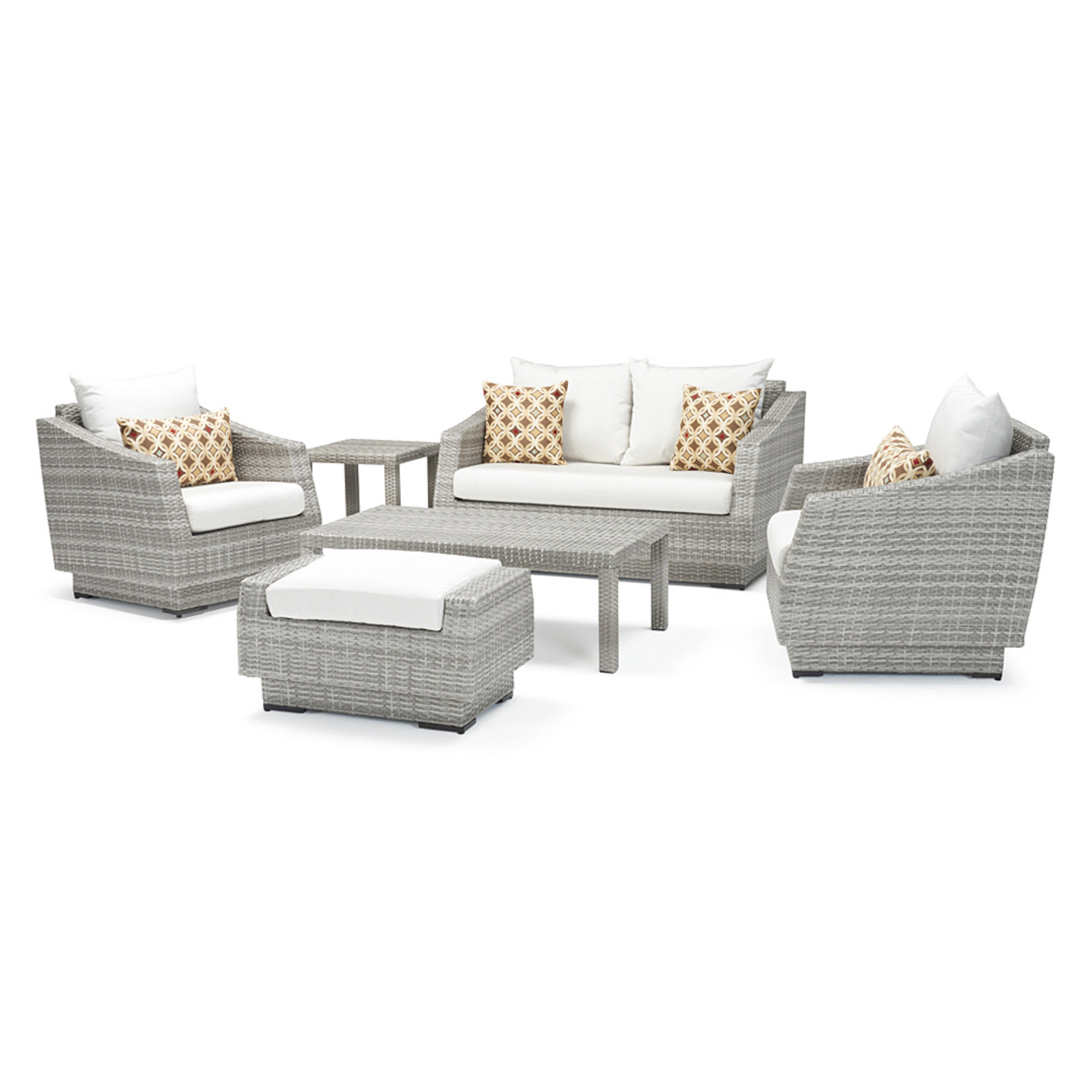 Cannes™ 6pc Love and Club Seating Set - Moroccan Cream