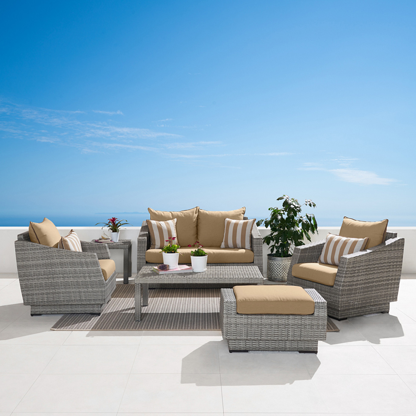 Cannes™ 6 Piece Love & Club Seating Set - Maxim Beige