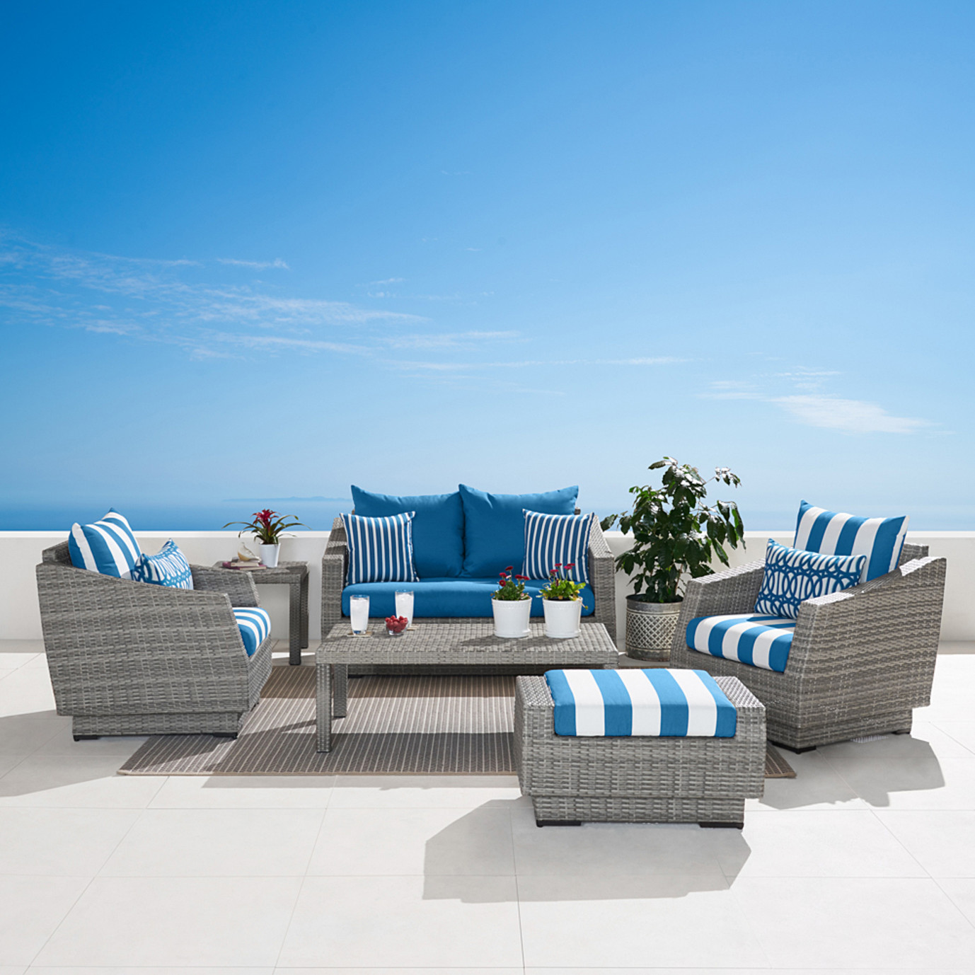 Cannes™ 6pc Love and Club Seating Set - Regatta Blue
