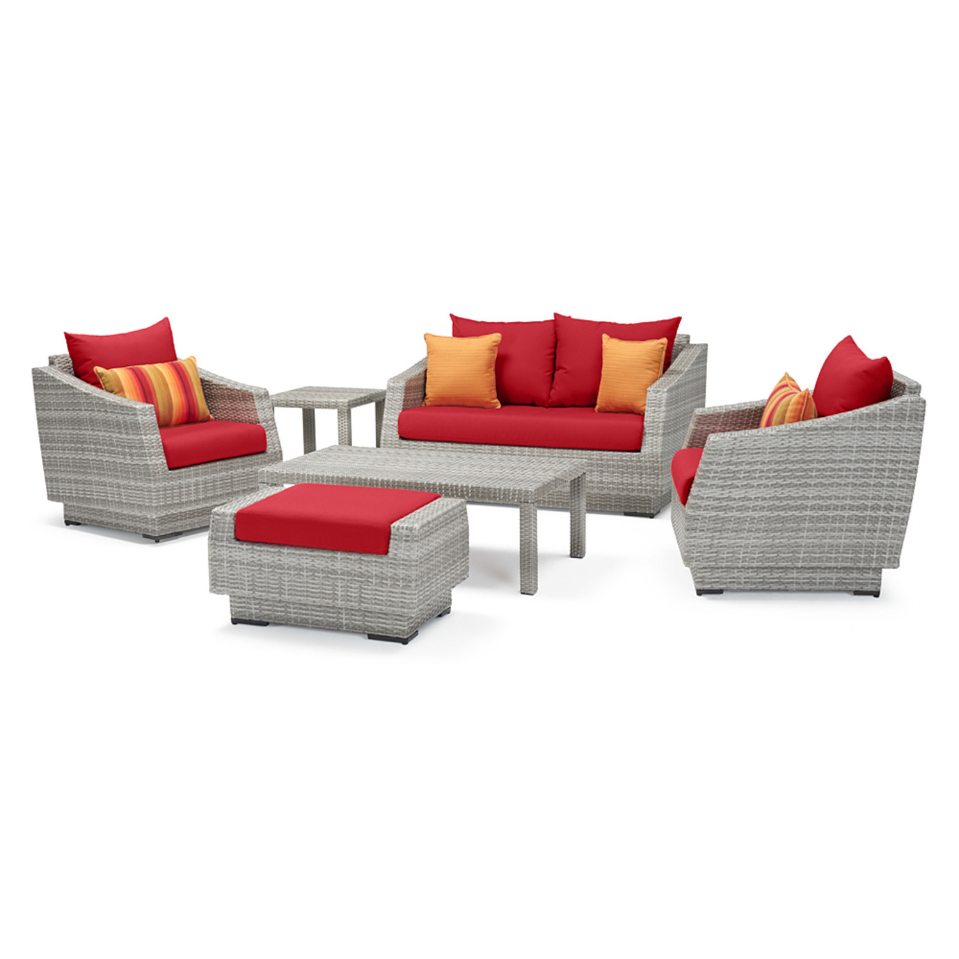 Cannes™ 6 Piece Love & Club Seating Set - Sunset Red