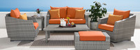 Cannes™ 6 Piece Love and Club Seating Set - Tikka Orange