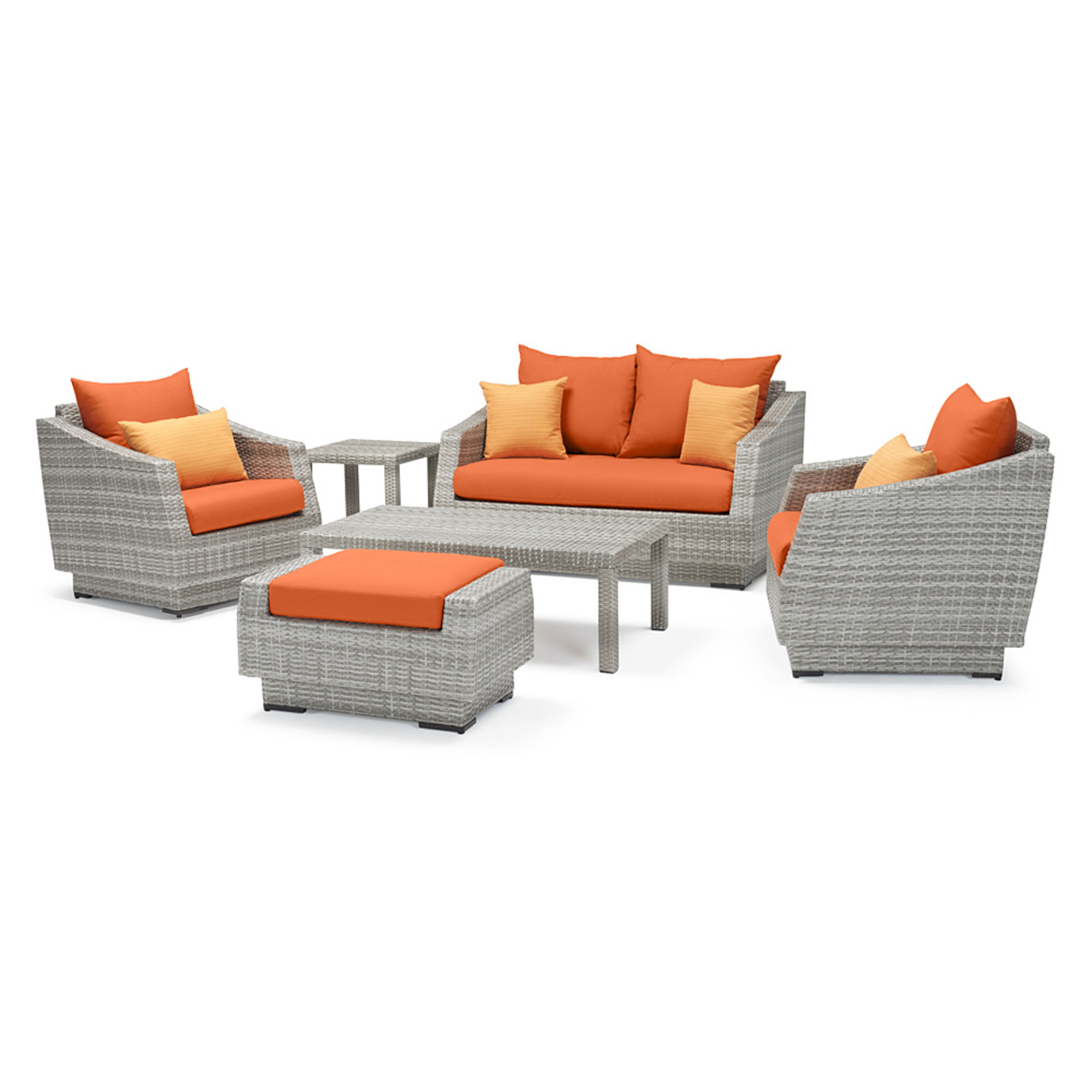 Cannes™ 6 Piece Love and Club Seating Set - Tikka Orange