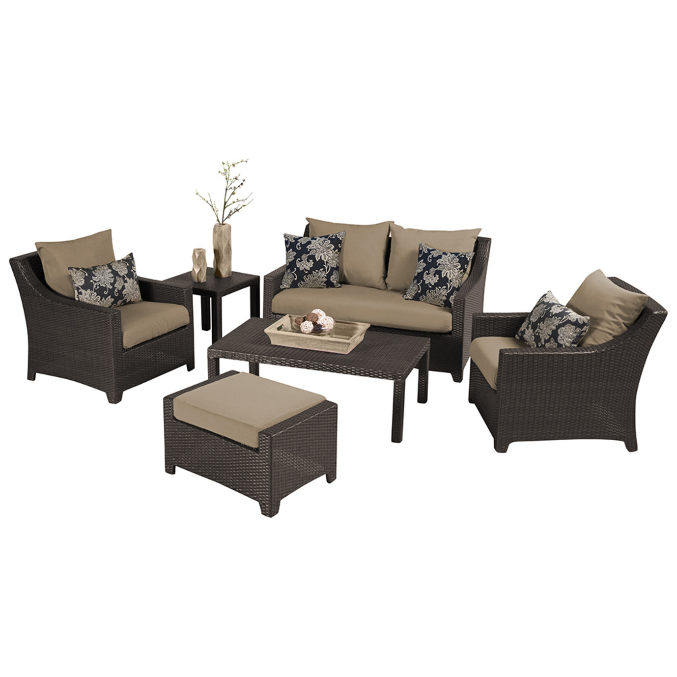 Deco 6pc Love and Club Seating Set - Delano Beige