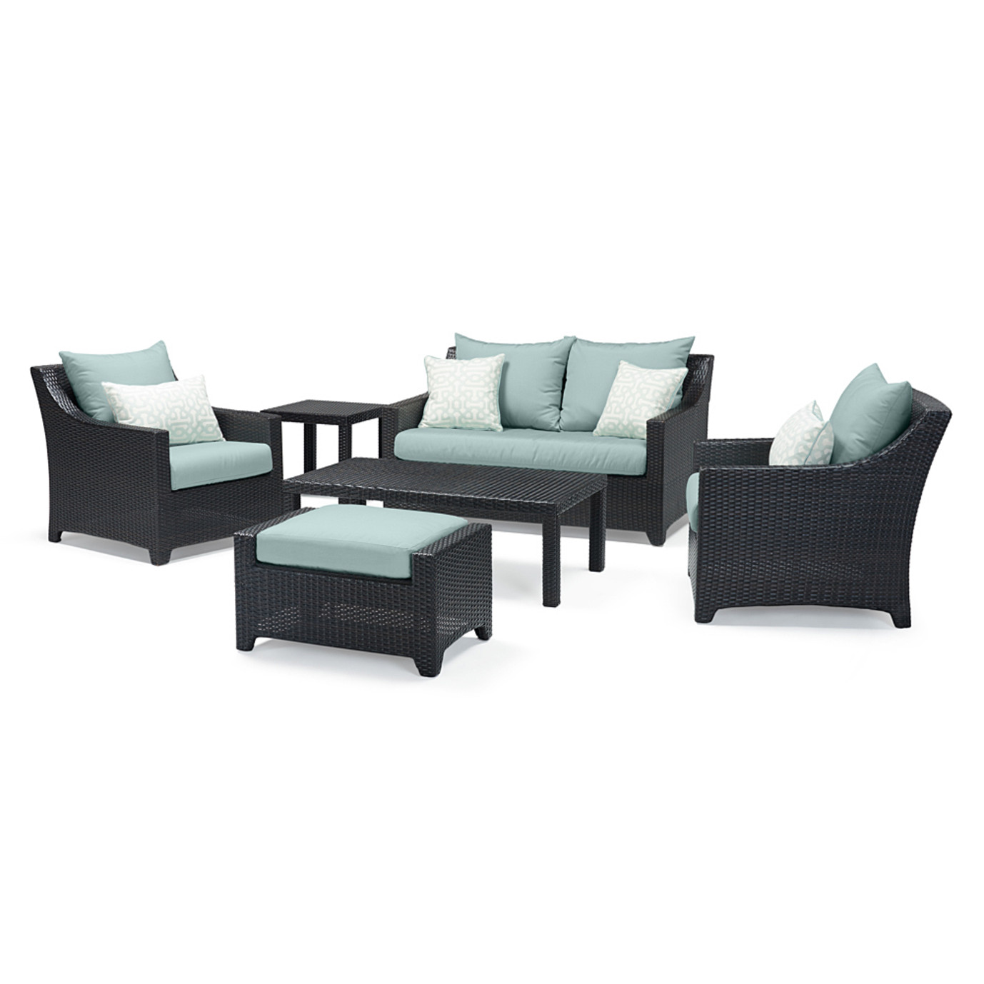 Deco™ 6pc Love and Club Seating Set - Spa Blue