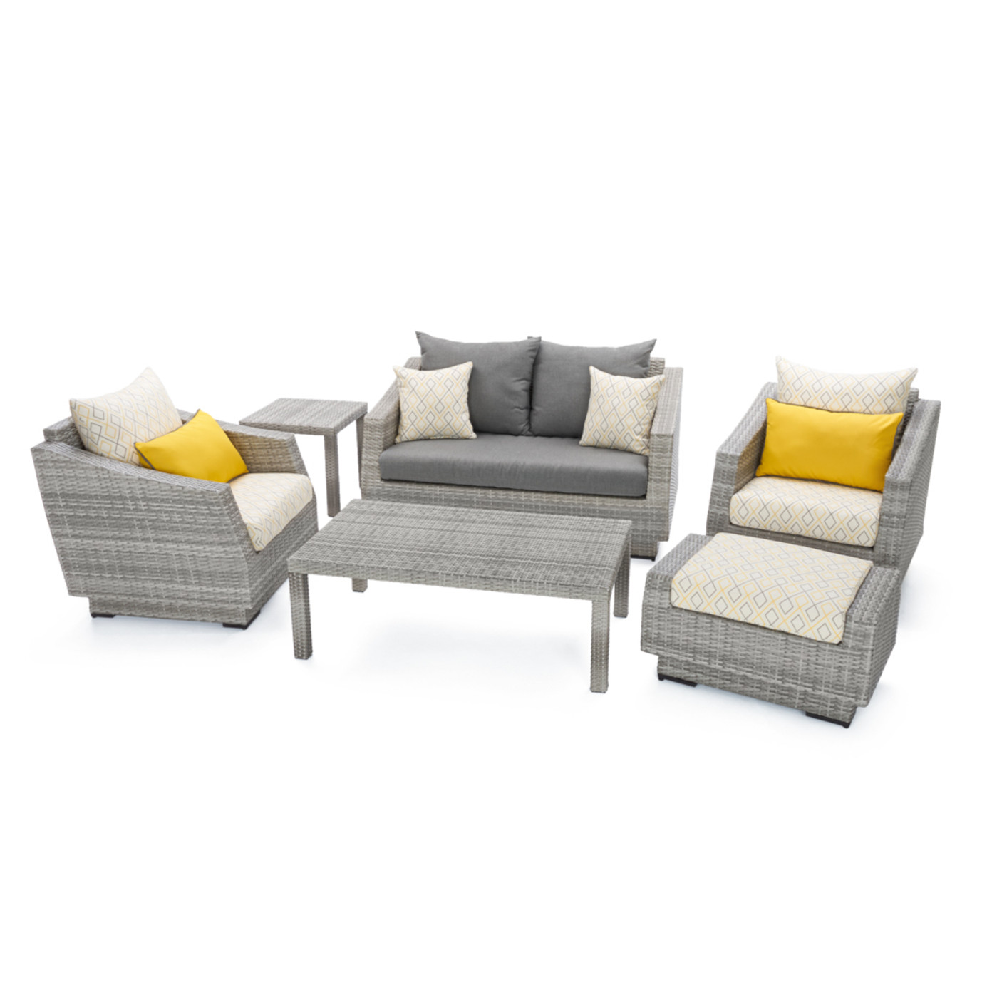 Cannes™ Design 6pc Love & Club Seating Set - Sunflower Yellow